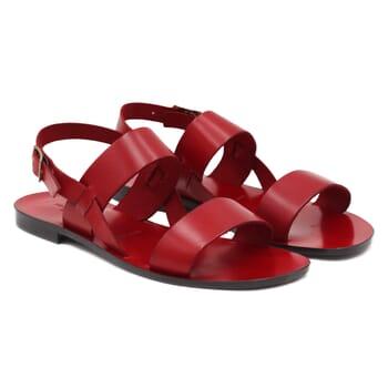 sandales plates cuir rouge jules & jenn