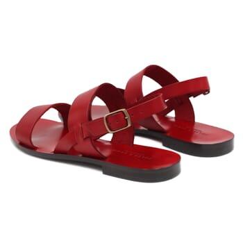 vue arrière sandales plates cuir rouge jules & jenn