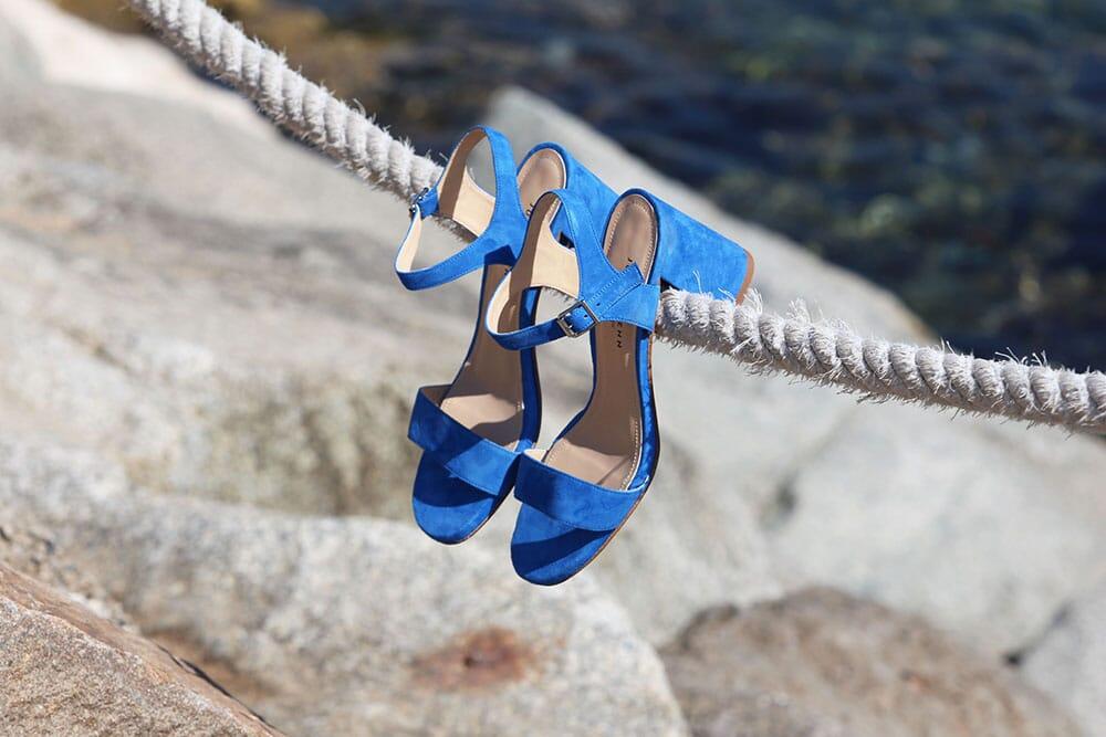 Sandales femme cuir daim bleu JULES & JENN