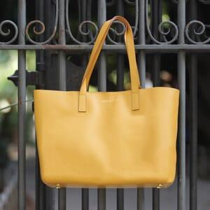 sac cabas cuir jaune moutarde jules & jenn