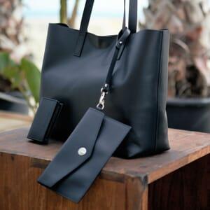 sac cabas cuir noir jules & jenn