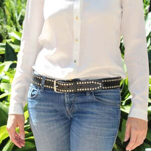 ceinture cloutee cuir noir
