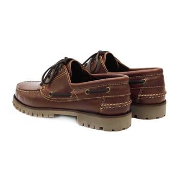 vue arrière chaussure bateau crampons cuir marron jules & jenn
