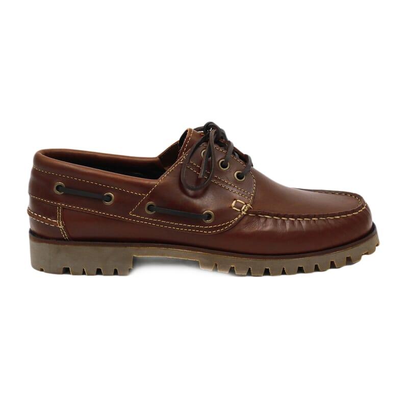 vue extérieure chaussure bateau crampons cuir marron jules & jenn