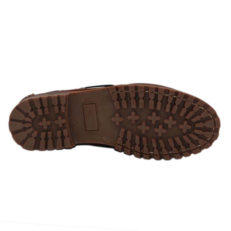 vue dessous chaussure bateau crampons cuir marron jules & jenn