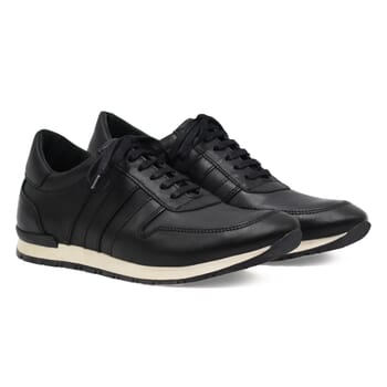 sneakers cuir noir lacets noirs jules & jenn
