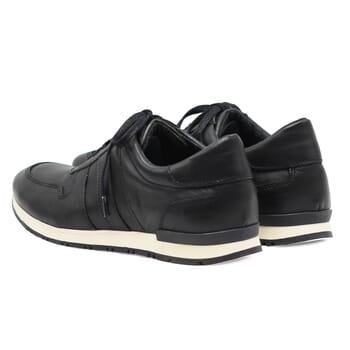 vue arriere sneakers cuir noir lacets noirs jules & jenn