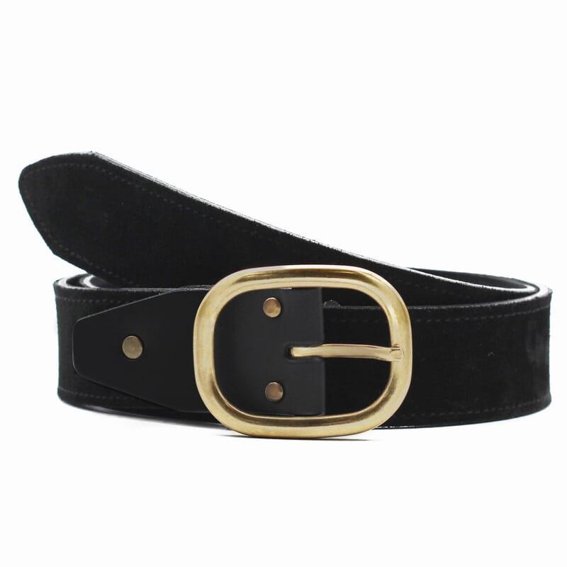 ceinture femme vintage cuir daim noir fabriquee en France