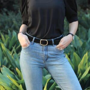 ceinture vintage cuir daim noir jules & jenn