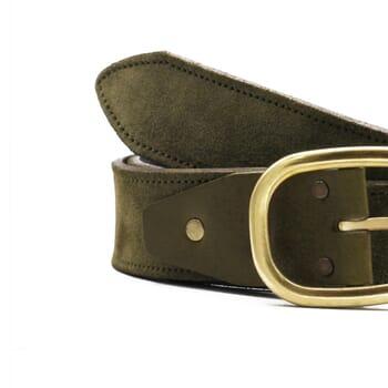 gros plan ceinture vintage cuir daim kaki jules & jenn