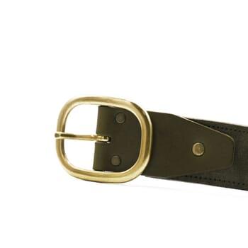 vue boucle ceinture vintage cuir daim kaki jules & jenn