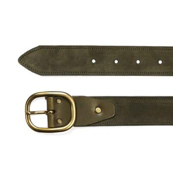 vue dessus ceinture vintage cuir daim kaki jules & jenn