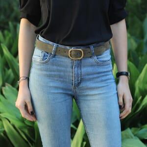 ceinture vintage cuir daim vert kaki jules & jenn