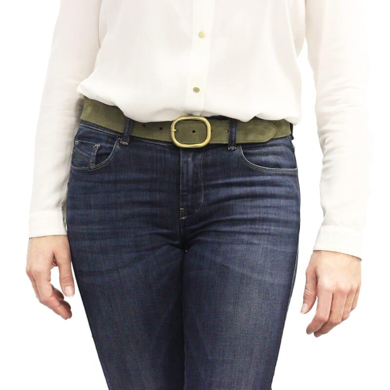 vue portée ceinture vintage cuir daim kaki jules & jenn
