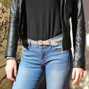 ceinture fine cuir rose metallise jules & jenn