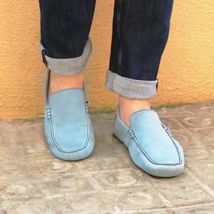 mocassins cuir daim bleu clair jules & jenn