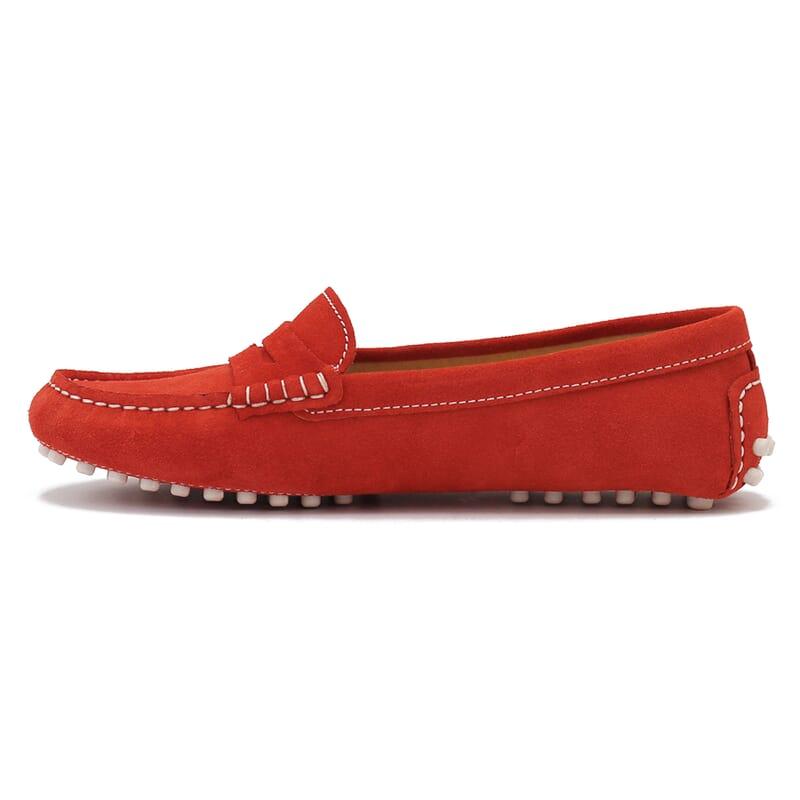 vue intérieure mocassins femme cuir daim rouge orangé jules & jenn