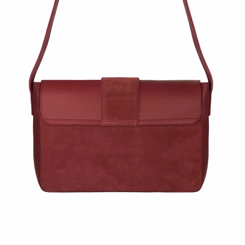 vue arrière sac bandoulière cuir rouge jules & jenn