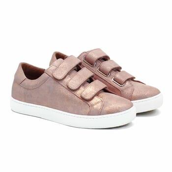baskets à scratch cuir rose métallisé jules & jenn