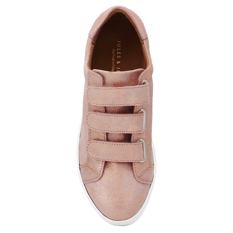 vue dessus baskets à scratch cuir rose métallisé jules & jenn
