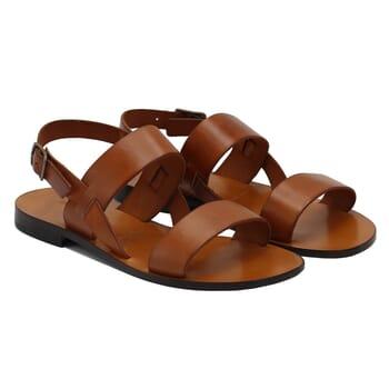 sandales plates cuir camel jules & jenn