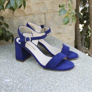 vue posee sandales à talon cuir bleu jules & jenn