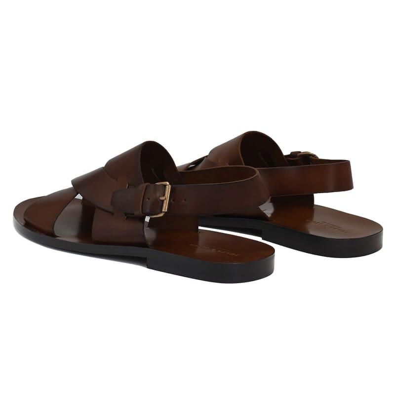 vue arriere sandales homme cuir marron jules & jenn