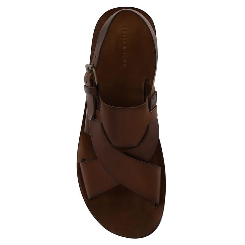 vue dessus sandales homme cuir marron jules & jenn