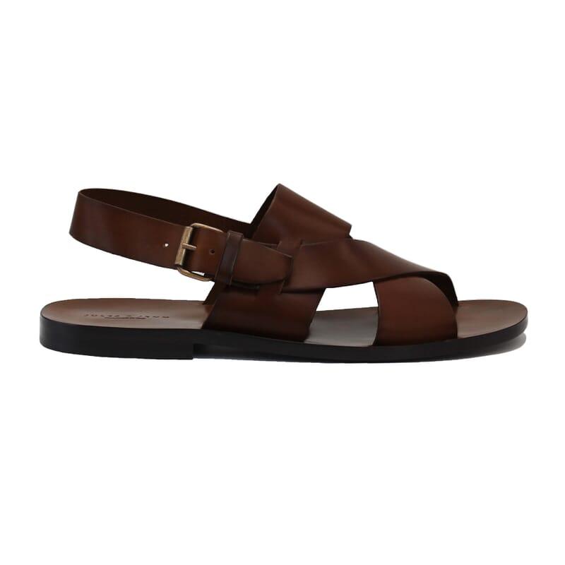 vue exterieur sandales homme cuir marron jules & jenn