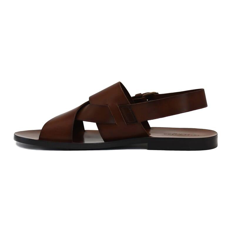 vue interieur sandales homme cuir marron jules & jenn