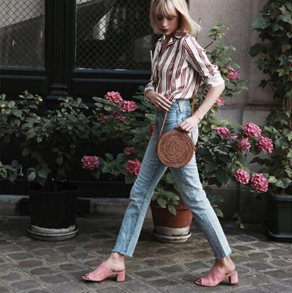 intoyourcloset - mules modernes cuir daim rose jules & jenn