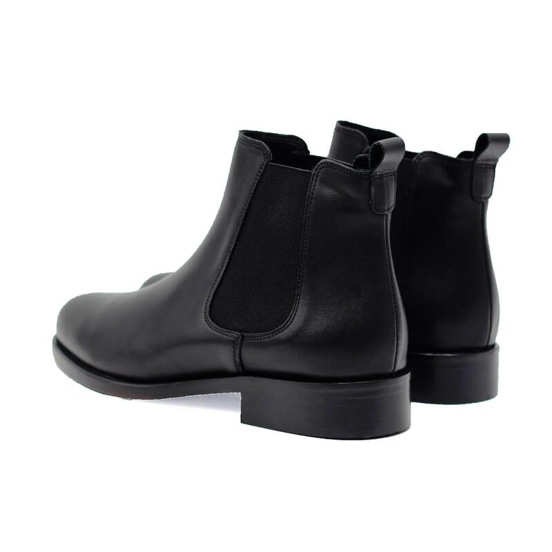 vue arrière bottines chelsea plates cuir noir