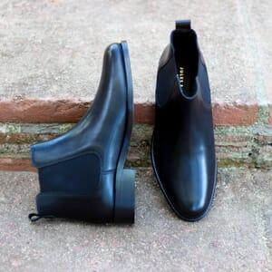vue extérieure bottines chelsea plates cuir noir