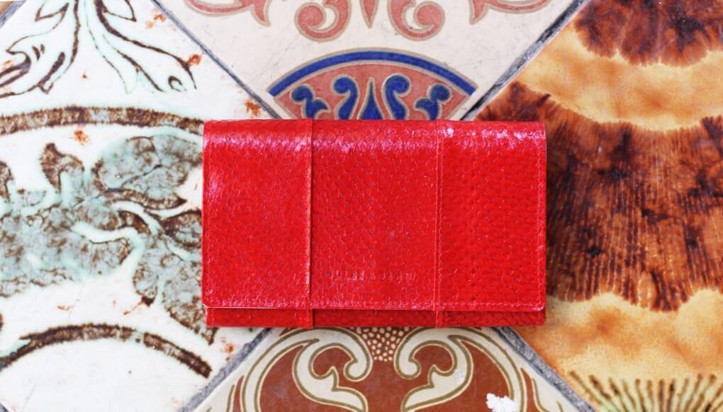 grand portefeuille cuir de poisson rouge jules & jenn