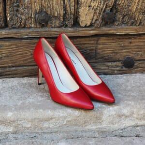 escarpin jules et jenn cuir rouge exterieur