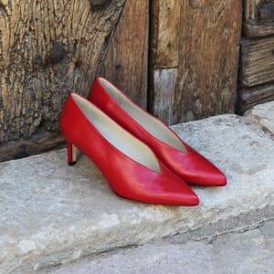 escarpin decollete v jules et jenn cuir rouge exterieur
