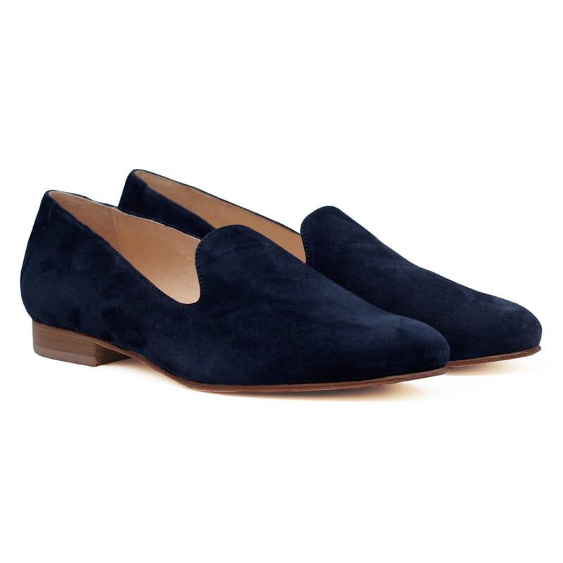 slippers classiques cuir daim bleu jules & jenn