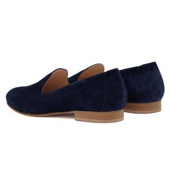 vue arriere slippers classiques cuir daim bleu jules & jenn