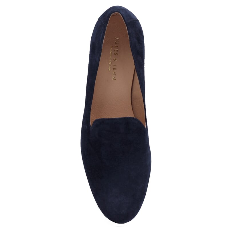vue dessus slippers classiques cuir daim bleu jules & jenn