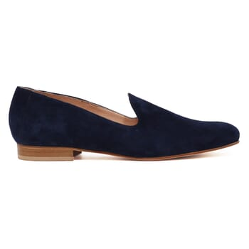 vue exterieur slippers classiques cuir daim bleu jules & jenn