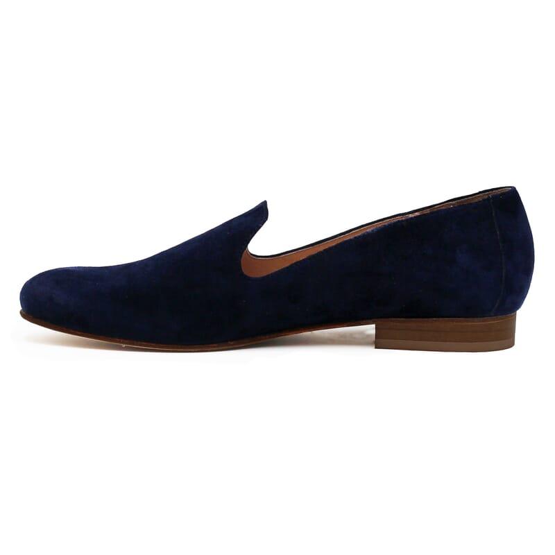 vue interieur slippers classiques cuir daim bleu jules & jenn