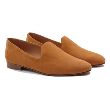 slippers classiques cuir daim camel jules & jenn