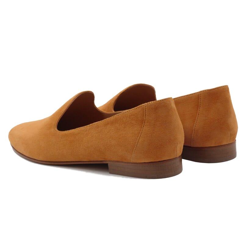 vue arriere slippers classiques cuir daim camel jules & jenn