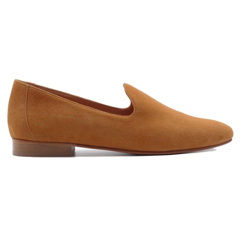 vue exterieure slippers classiques cuir daim camel jules & jenn