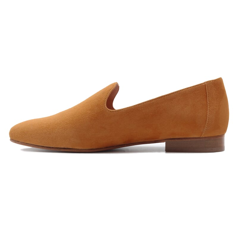 vue interieure slippers classiques cuir daim camel jules & jenn