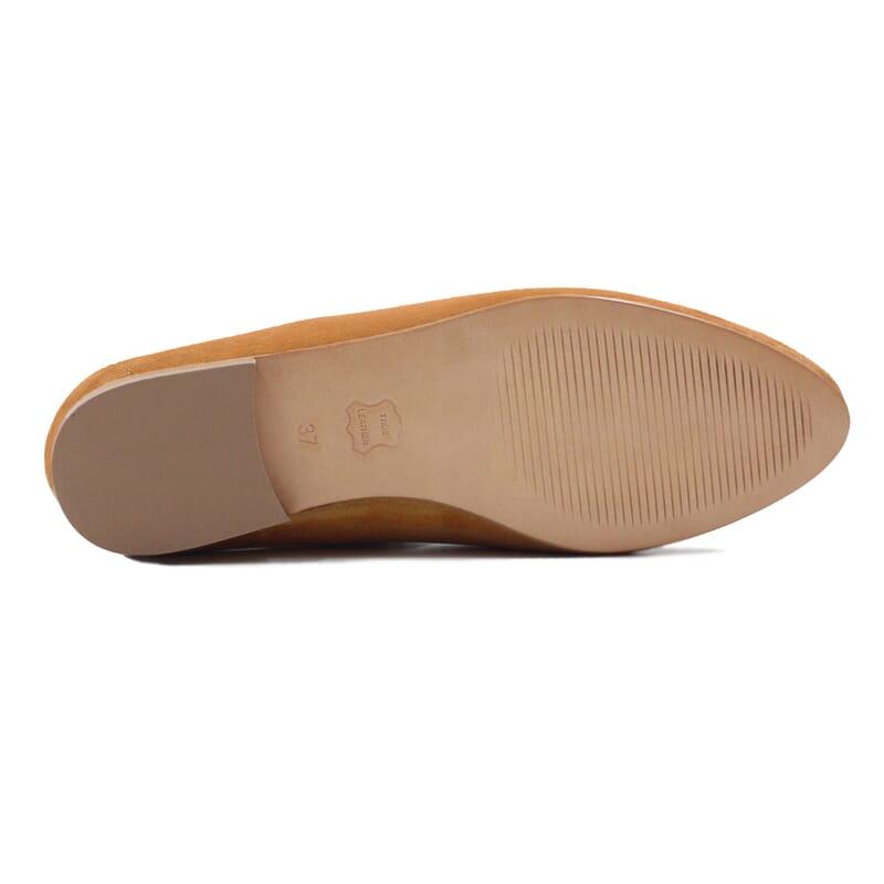 semelle cuir slippers classiques daim camel jules & jenn