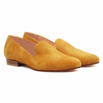slippers classiques cuir daim moutarde jules & jenn