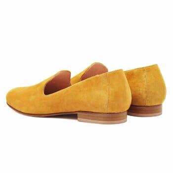 vue arriere slippers classiques cuir daim moutarde jules & jenn