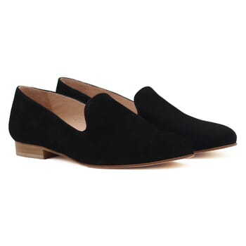 slippers classiques cuir daim noir jules & jenn