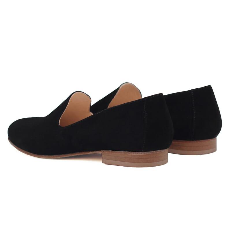 vue arriere slippers classiques cuir daim noir jules & jenn